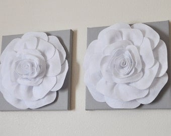 "TWO Rose Wall Hangings -White Rose on Solid Light Gray 12 x12"" Canvases Wall Art- 3D Felt Flower"