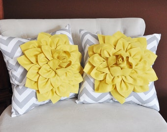 TWO Mellow Yellow Dahlia on Gray and White Zigzag Pillow -Chevron Pillow-
