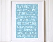 Rules for the Beach House Relax Swim Play Flip Flops are Mandatory. 11x17 Art Print.