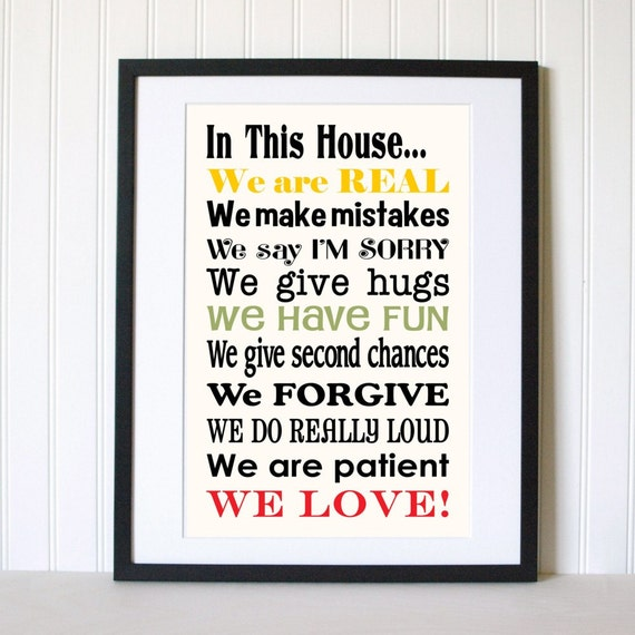 In This House We...Family Rules Art Print Sign We Are Real We Do Hugs 11x17