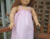 American Girl Clothes, Pink gingham nightgown for 18 inch doll