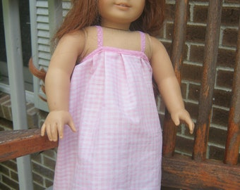 18 Inch Doll Clothes, Pink gingham nightgown for 18 inch doll