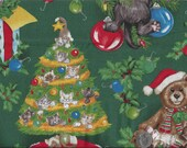 Christmas Cats Gone Wild I Spy Crazy Cats Quilt Fabric BTY