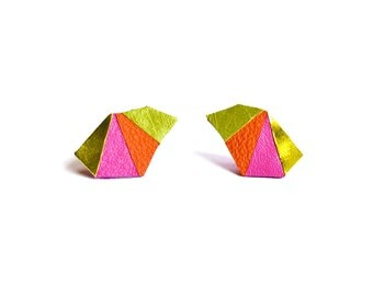 Triangle Post Stud Earrings, Metallic Earrings, Gold Pink Orange and Green Studs, Leather Earrings