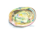 Abalone Seashell Watercolor Painting Giclee Print