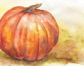 Fall Pumpkin Watercolor Painting Giclee Print 10 x 8 Fine Art Watercolor 11 x 8.5