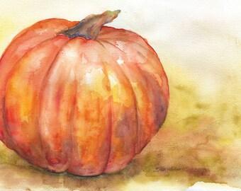 Fall Pumpkin Watercolor Painting Giclee Print 10 x 8 Fine Art Watercolor 11 x 8.5
