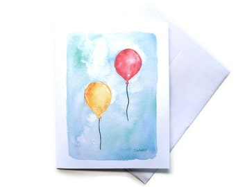 Balloons Watercolor Thank You Note Cards Set of 6 - 5.5x4.25