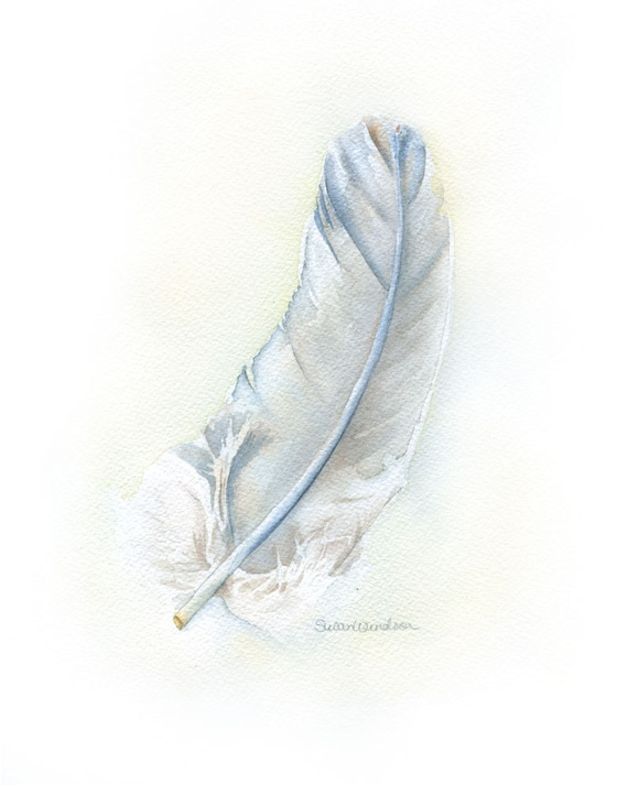 Gray Feather Watercolor Painting Fine Art Print 8 x 10 (8.5 x 11) - Bird Art