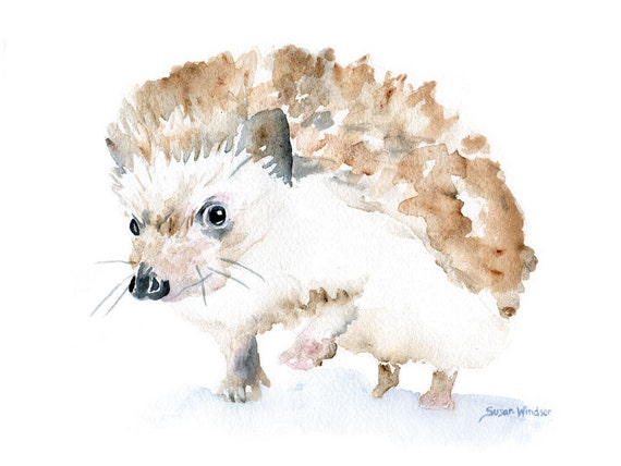 Hedgehog Original Watercolor Painting Woodland Nursery Art Fine Art