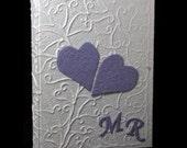 Handmade photo album embossed hearts cotton paper wedding or boyfriends gift customizable liliac letters scrapbook guest book