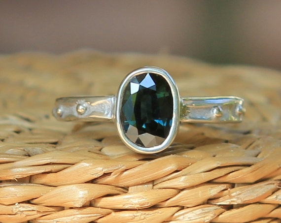 Unheated 1.4ct Blue/Green Sapphire With 14K Gold Accents Ring SZ 6