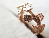 Nature inspired ring, Branch and Flower Ring, Rose Gold Plated, wedding band, floral wedding
