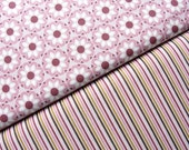 Riley Blake Fabric Duo, So Sophie Collection, Full Yard Set, Purple Petals and So Sophie Stripes, 2 Yards Total