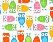 Owls in White by Ann Kelle, Robert Kaufman Fabric, Urban Zoologie, 1 Yard