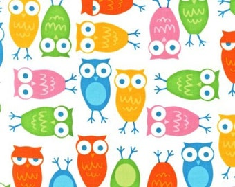 Owls in White by Ann Kelle, Robert Kaufman Fabric, Urban Zoologie, 1 Yard