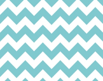 Medium Chevron Fabric in Aqua Blue by Riley Blake, 1 Yard