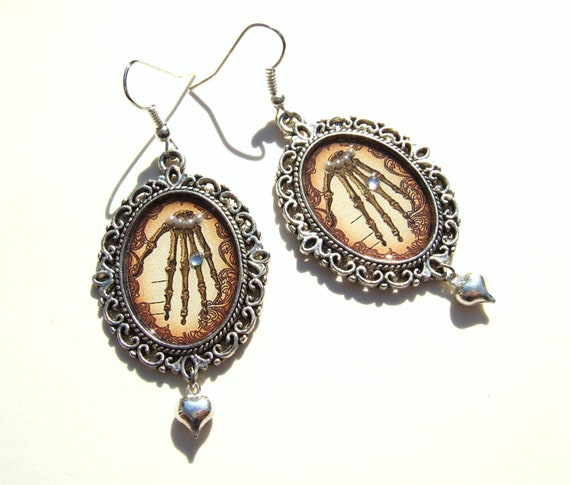 Anatomy Earrings Gothic Earrings Medical Student Gift Altered Art Anatomy Jewelry Altered Art Earrings Halloween Earrings