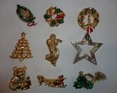 10 Vintage Christmas Pin signed Gerrys