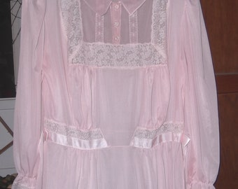 Long Nightgown Princess Nightgown Sheer Pink Nightgown Pink Nightgown  Vintage Nightgown