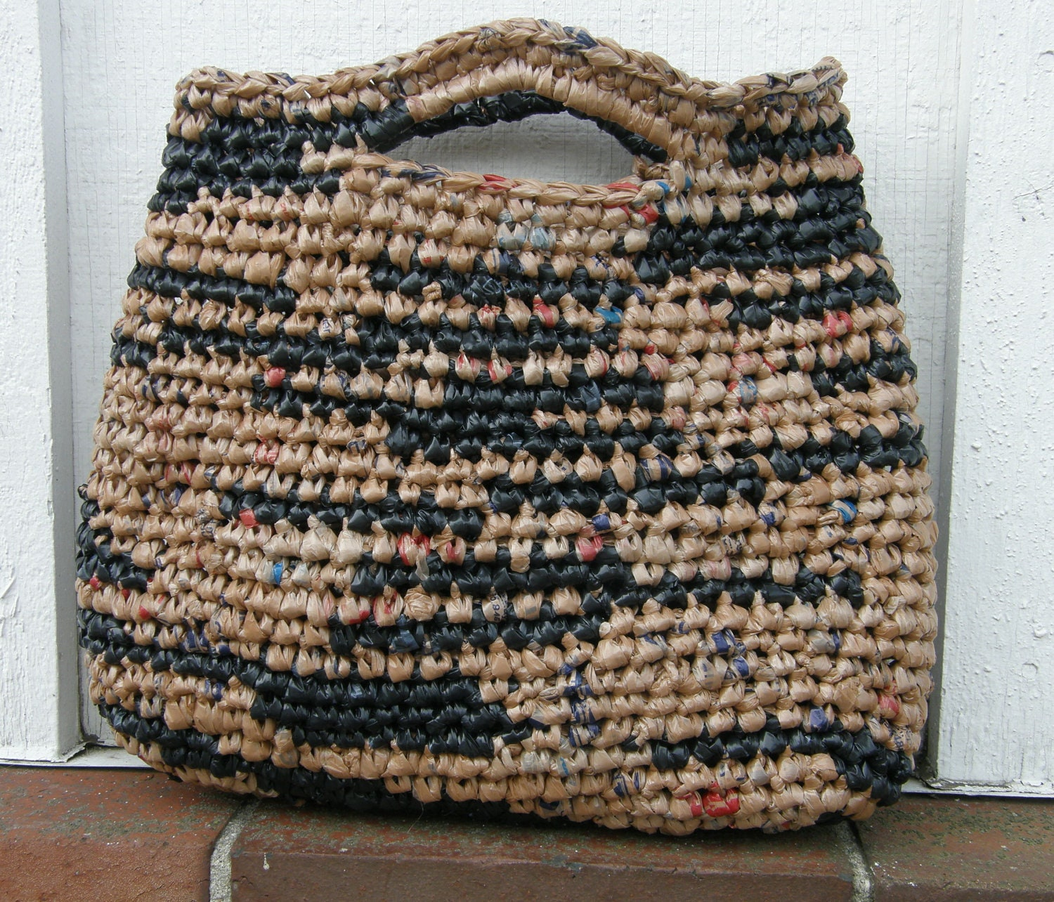 Crochet Plarn Tote Bag Pattern : Small Grocery Bag Plarn Purse Tote Crocheted Hand Bag OOAK