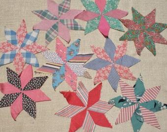 Vintage Quilt Blocks 8 Point Star Blocks Pink Blue Green