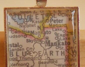 Mankato Minnesota Map Pendant