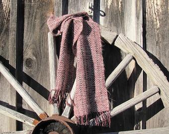 Mens Womens Winter Fashion Scarf, Urban Rustic Cabin Country Cottage Hand Woven Deep Burgundy Cream White Black Herringbone Wrap Scarf Gift