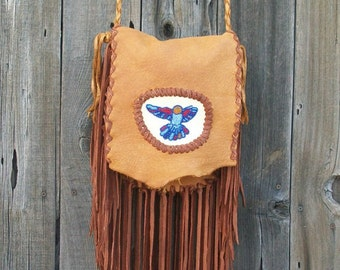 Fringed leather handbag ,   Beaded hummingbird ,  Gypsy handbag ,  Fringed leather handbag