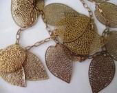 SALE Vintage double stranded brass Leaf Necklace