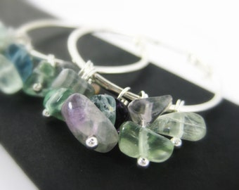 Rainbow Fluorite Earrings - Fluorite Jewelry Gemstone Hoop Earrings