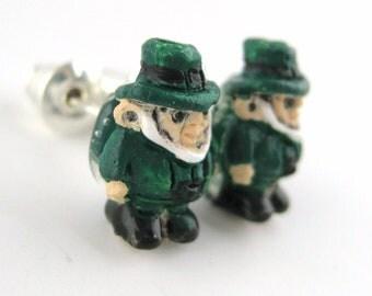 St Patricks Day Earrings - Irish Leprechaun Jewelry - Post Stud Earrings - St Patricks Day Earrings - Green Leprechaun Earrings - Lucky Gift