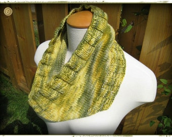 Hand Knit Cowl in Fall Greens Chunky Merino Wool