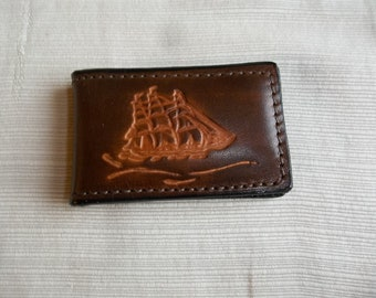 Leather Money Clip Stamped with Clipper Ship-ready to ship!