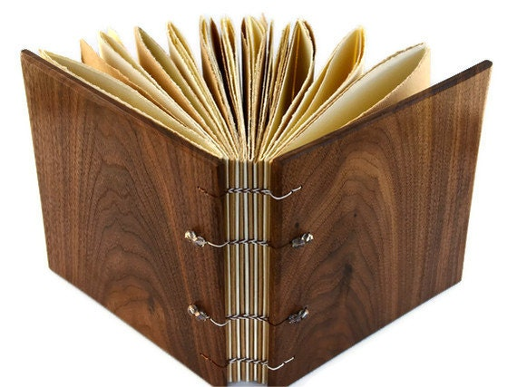Wood Covered Handcrafted Journal Coptic Bound 6x 6 Inches