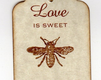 50 Wedding Favor Gift Tags, Love Is Sweet Thank You Tags, Love Is Sweet Honey Jar Label Tags  Vintage Style