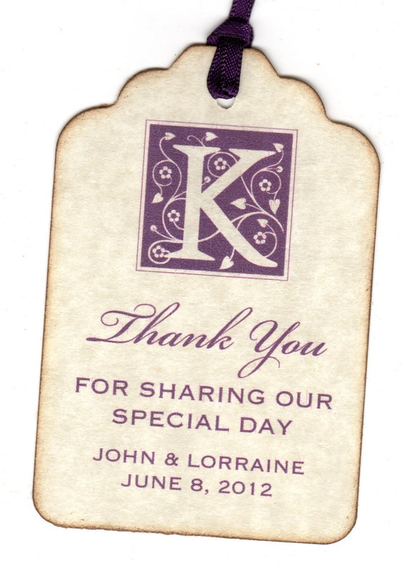 Custom Listing For Victoria - 200 Thank You Gift Tags / Wedding Favor / Labels / Hang Tags - Vintage Personalized Vintage