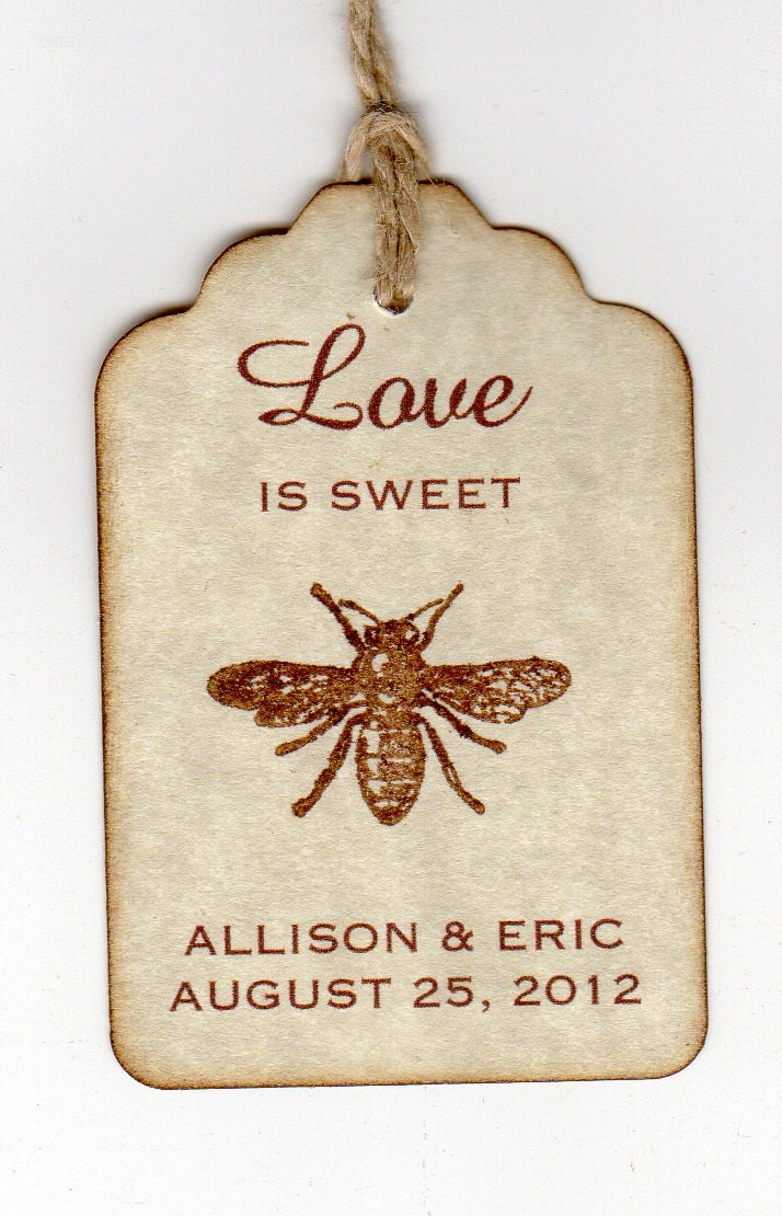 Love Is Sweet Bee Wedding Favor Gift Tags Place Card Escort