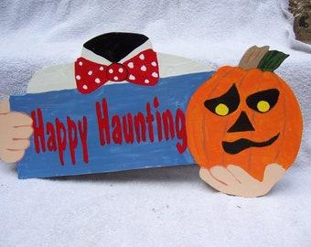 Handmade Wooden Happy Haunting Headless Halloween yard stake