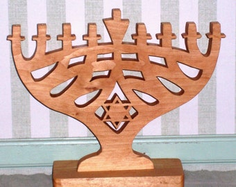 Hand cut wooden Menorah