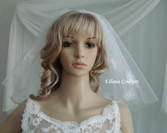 Short Vintage Inspired Veil with Small Organza flowers.