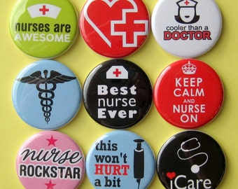 Nurse Magnets - Set of Nine 1.25 Inch Button Magnets Packaged in a Custom Box