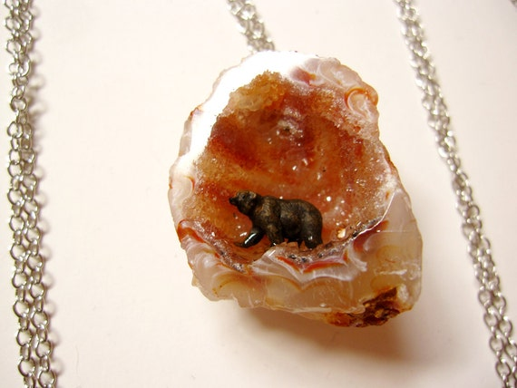raw agate geode necklace with miniature woodland grizzly bear figure