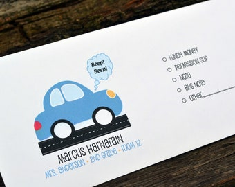 Personalized School Money Envelope for Money and Notes-Blue Car Design