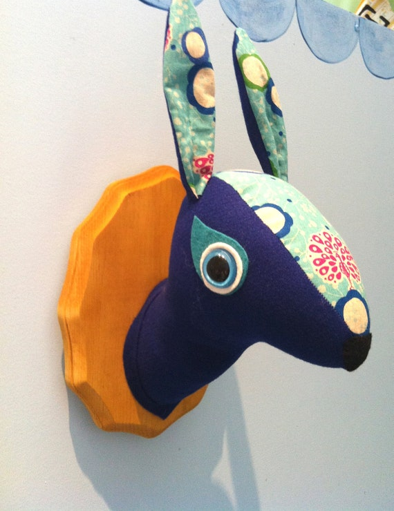 Faux Taxidermy - Royal Bllue Hare- Cyber Monday Sale
