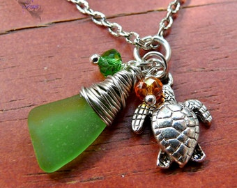 Sea Turtle Necklace from Hawaii - Seaglass Jewelry - Hawaiian Honu Necklace - Sea Turtle Jewelry - Sea Glass Necklace - Hawaii Honu Jewelry