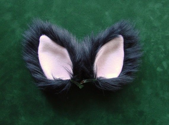 Black and Pink Fur Wolf Dog Coyote Fox Cat Ears Costume Halloween Cosplay