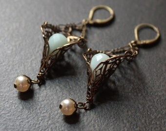 Antique Brass Filigree Basket Earrings with Robins Egg Blue Briolette and Pearl Drops