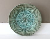 "Teal Decorated Plate / Rustic Verdigris Stoneware with Sliptrailed Starburst Design / ""COPPERFULL"""