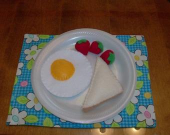 Felt Food Egg, Toast and Strawberries